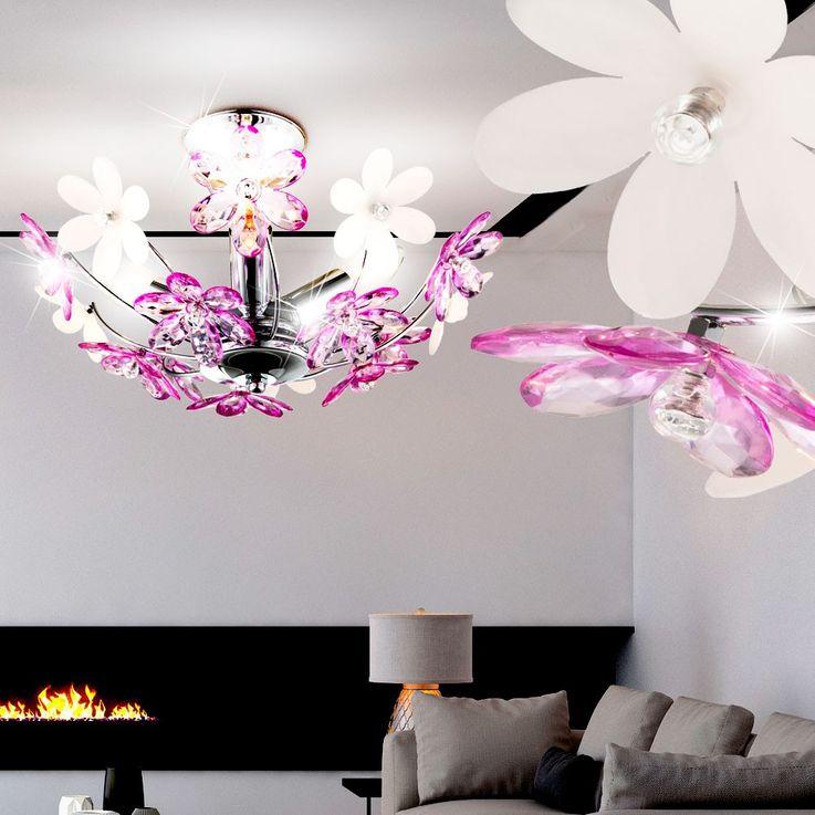 Design Blüten Decken Leuchte weiß lila Flora Wohn Ess Zimmer Tisch Beleuchtung Globo 51568-3 – Bild 4