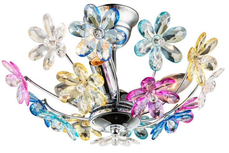 Decorative ceiling light chrome flowers flowers light multicolor floral Globo 51569-3 – Bild 1