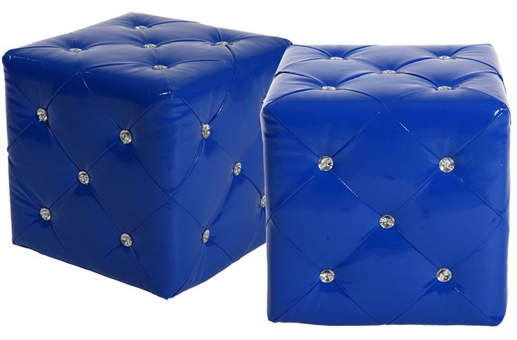 2 set stool in blue leather with decorative rhinestones – Bild 1