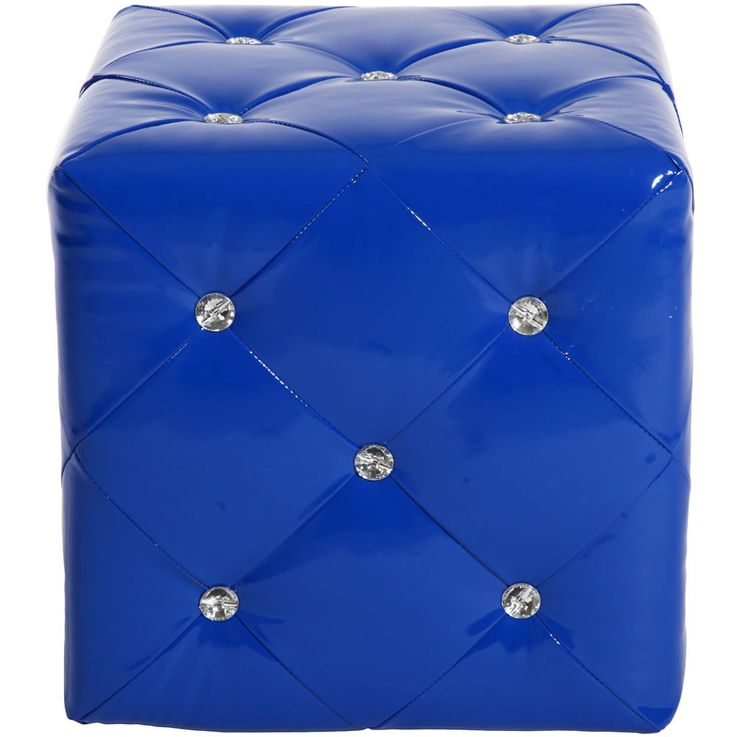 2 set stool in blue leather with decorative rhinestones – Bild 4