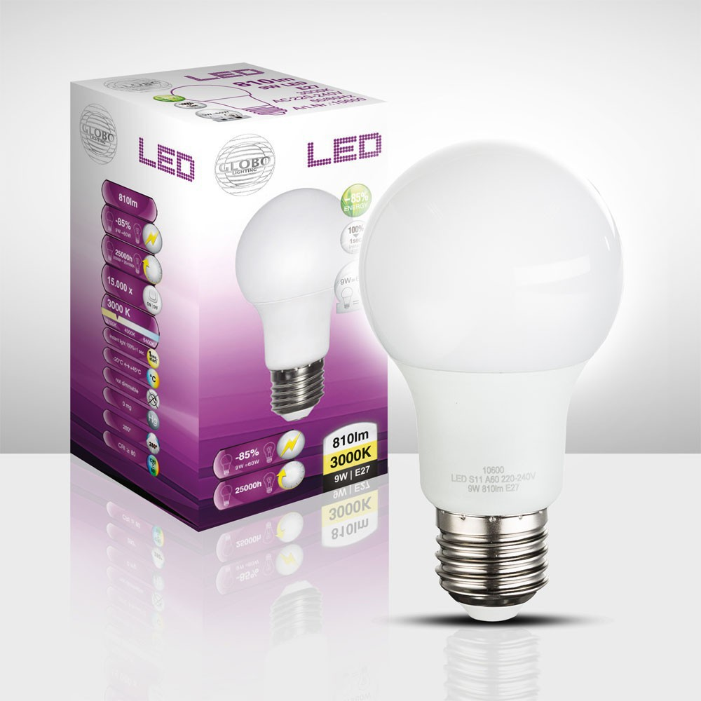 5er Set 9 Watt LED Leuchtmittel E27 Sockel warmweiß 810 Lumen 3000 Kelvin EEK A+