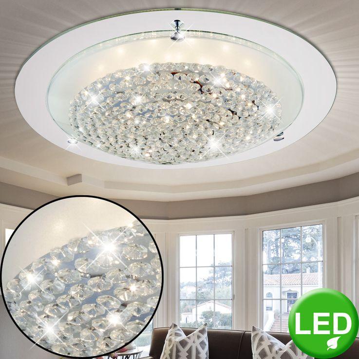 Luminaire de plafond LED 16 Watt chrome éclairage verre crystal miroir bord lampe Globo 48249-16 – Bild 2