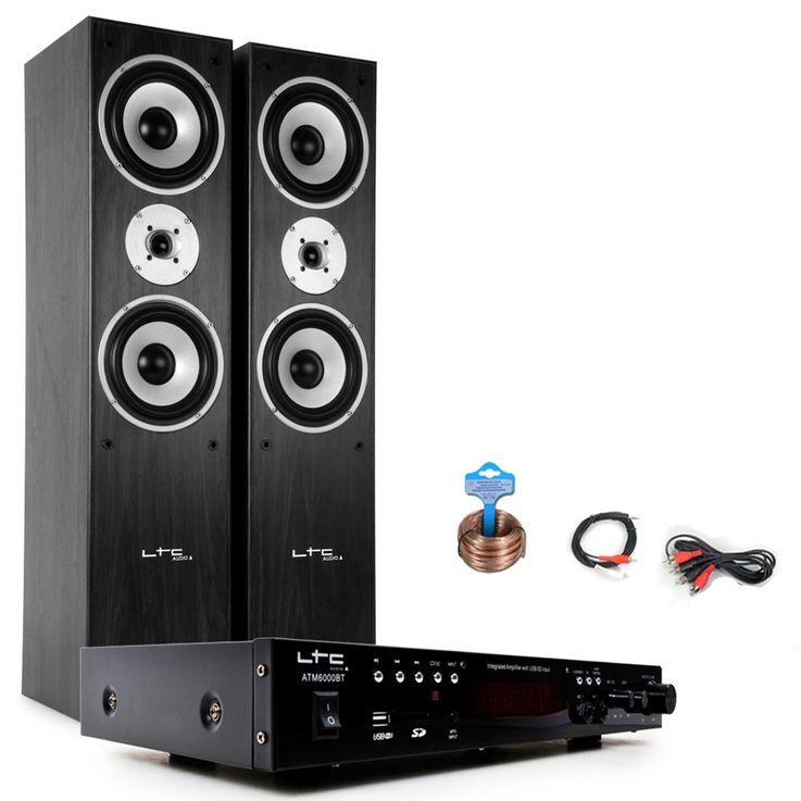 Hifi Musikanlage Bluetooth USB MP3 Verstärker schwarze Standboxen HIFI-Premium 15 – Bild 1