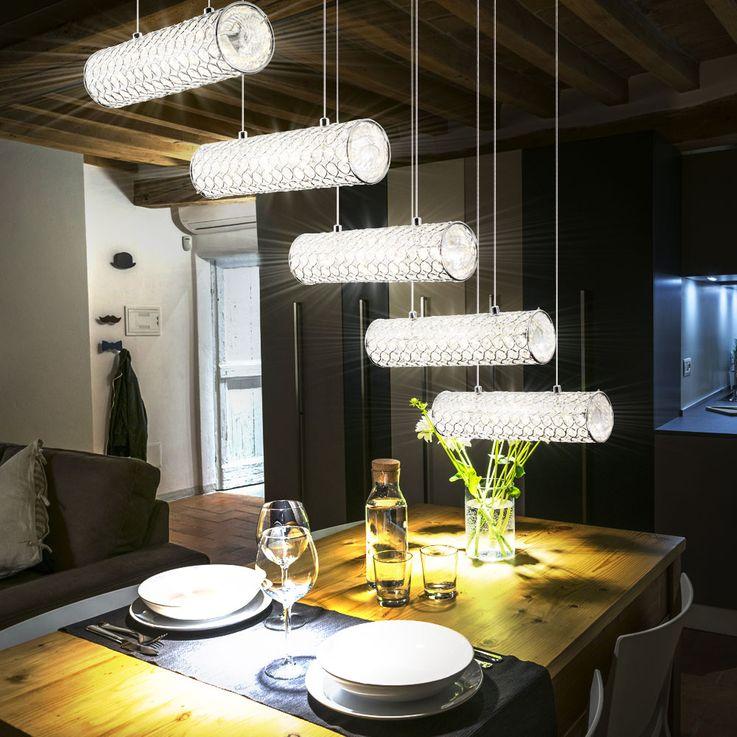 LED 55 Watt Hängeleuchte mit klaren Glas-Kristallen TINCA – Bild 3
