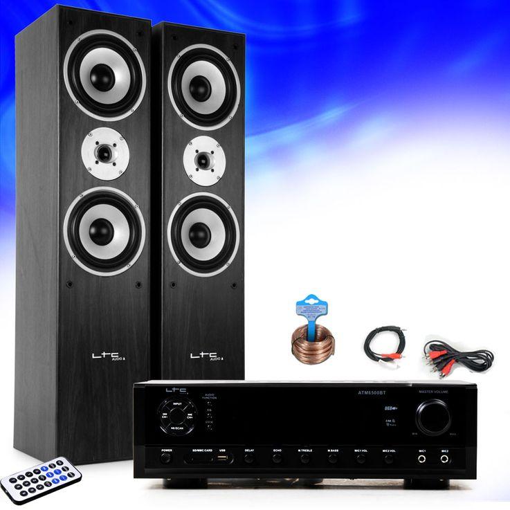 Hifi Musikanlage Bluetooth USB MP3 Verstärker schwarze Standboxen HIFI-Premium 17 – Bild 2