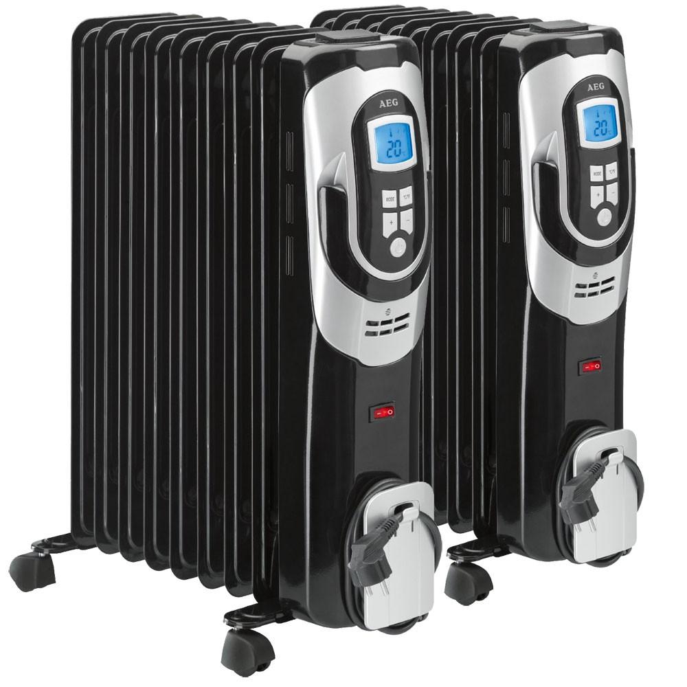Set Of 2 Oil Filled Radiator Mobile Garage Device Heater