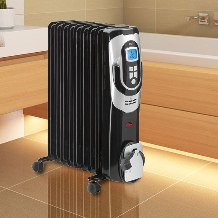 Set of 2 oil filled radiator heaters mobile device electronically heater warmer – Bild 3