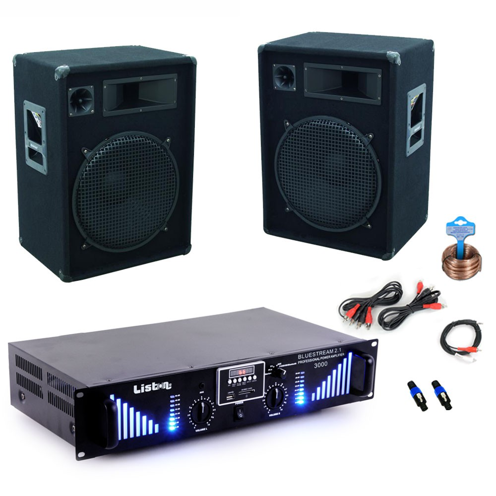 3000w pa anlage bluetooth usb verst rker mit boxen und kabel audio technik dj equipment. Black Bedroom Furniture Sets. Home Design Ideas