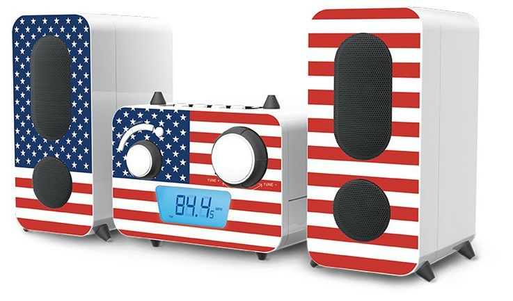 Stereo music system CD player Radio USB MP3 Flag designs in set including headphones – Bild 2