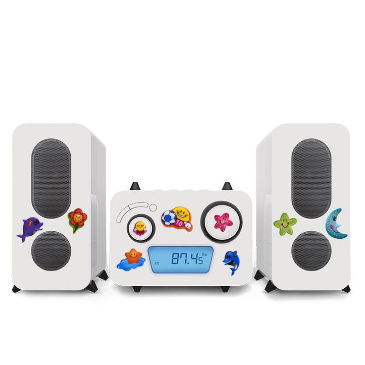 Children stereo music system CD player radio MP3 USB flags in the set including puffy stickers – Bild 1
