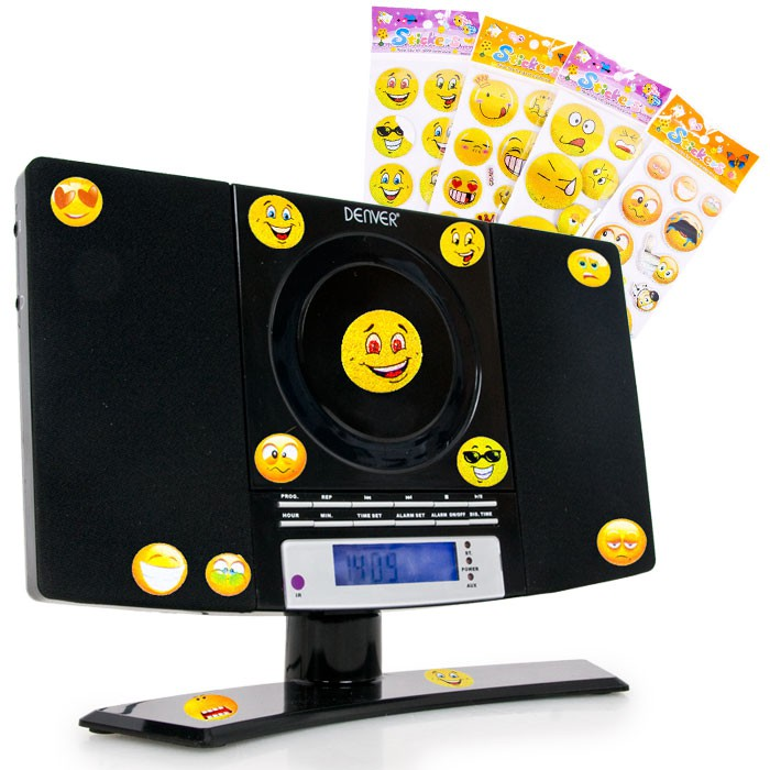 Music stereo radio children boys CD player in set including smiley sticker – Bild 1