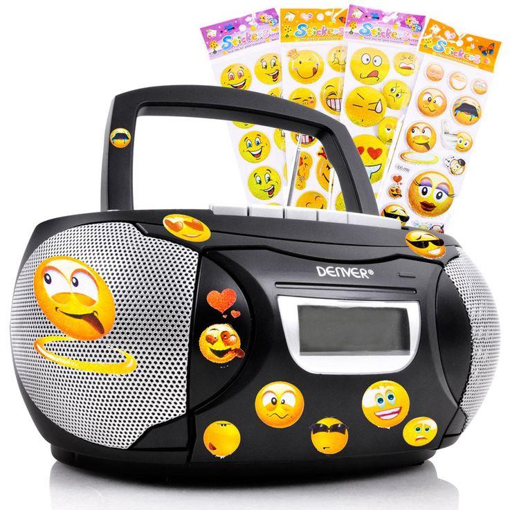 Stereo Musik Anlage Kinder Zimmer CD-Radio Kassettendeck im Set inklusive Smiley Sticker – Bild 1