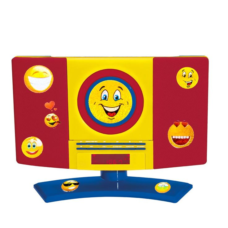 CD radio kids room wall MP3 player boy alarm clock brightly in the set including smiley stickers – Bild 1