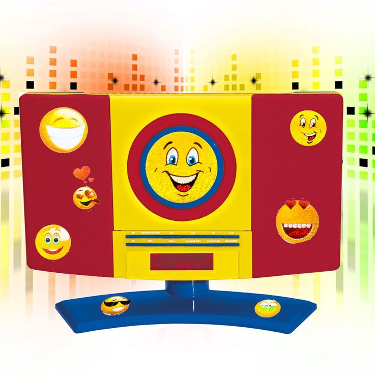 CD Radio Kinder Zimmer Wand MP3 Player Jungen Wecker bunt im Set inklusive Smiley Sticker – Bild 2