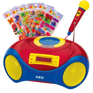 Tragbare Karaoke Kinder Stereo Anlage MP3 Radio USB CD Mikrofon im Set inklusive Kinder Sticker – Bild 1
