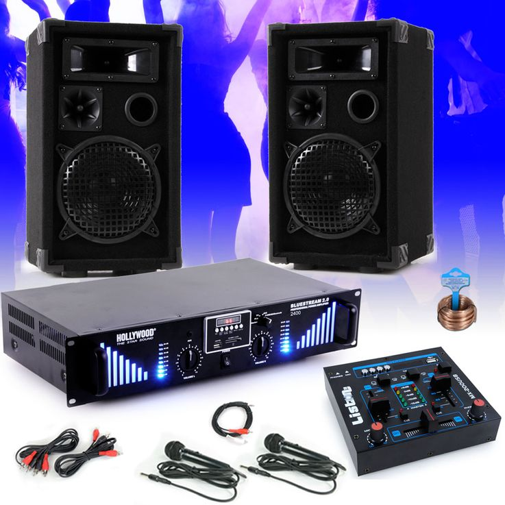 2400W PA party plant boxes USB MP3 amplifier mixer microphones DJ NightStar 7 – Bild 2