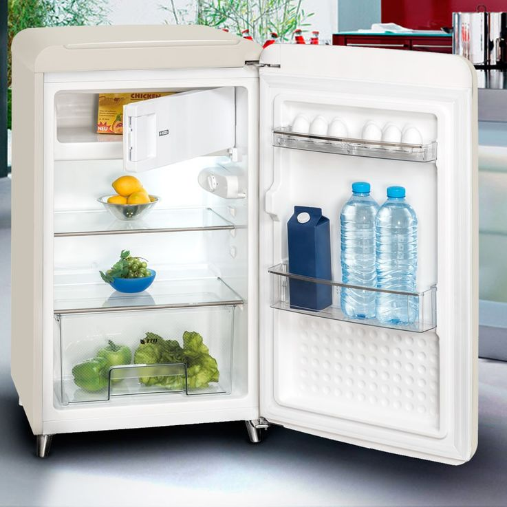 Retro Kühl-freezer combination living room floor-mounted appliance white Exquisit RKS130-11A++ – Bild 2