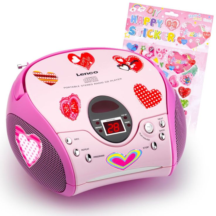 Children girls CD player MP3 music system stereo system radio in the set including heart stickers – Bild 1