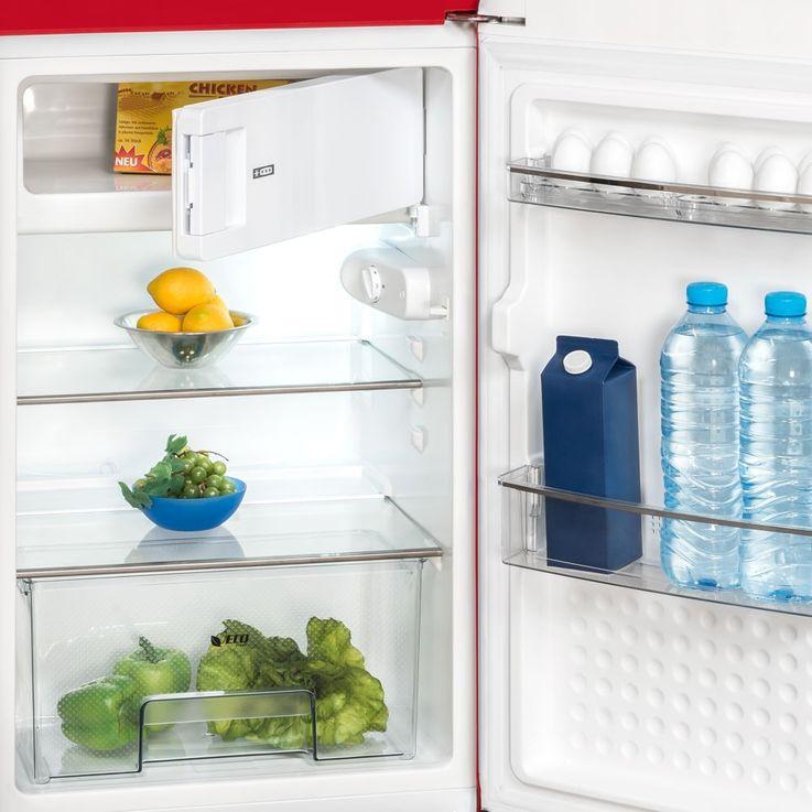 Vintage refrigerator red Kitchen Freezer glass floor 121 litre Exquisit RKS130-11A++ – Bild 3