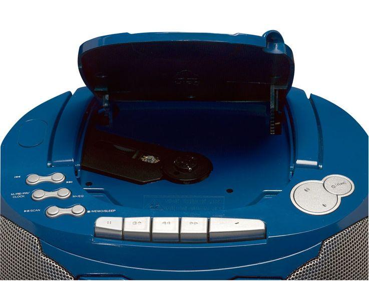 Blauer CD-Player mit Radio und Kassettendeck – Bild 2