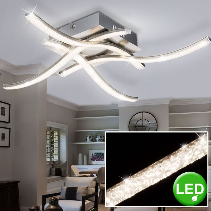 15 Watt LED ceiling light dining room wave lighting Crystal optics lamp Globo 67004-15 – Bild 4