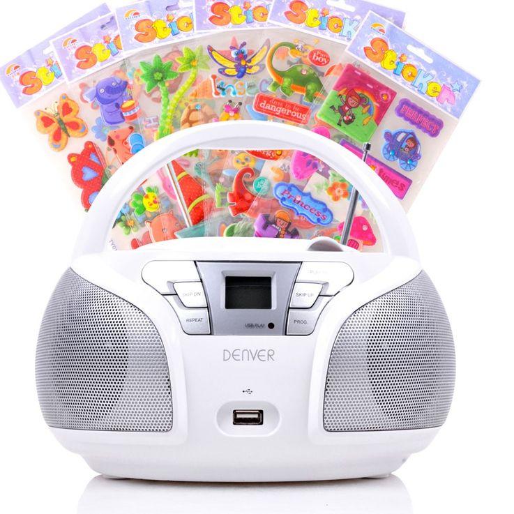 Lecteur CD portable USB musique enfants boombox stéréo radio blanc autocollants  – Bild 1