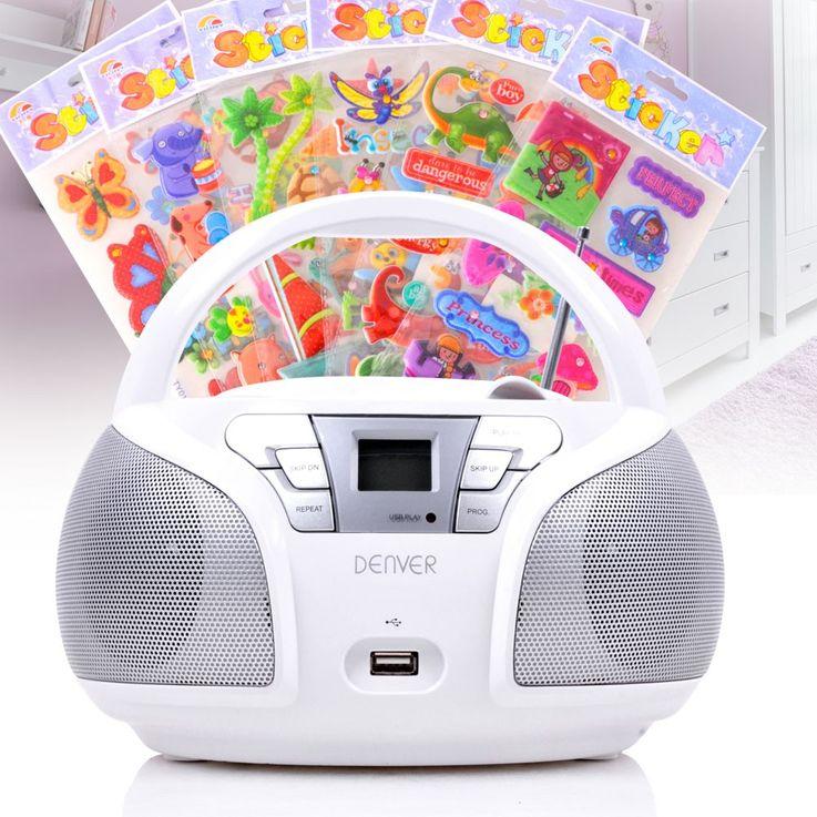 Lecteur CD portable USB musique enfants boombox stéréo radio blanc autocollants  – Bild 2