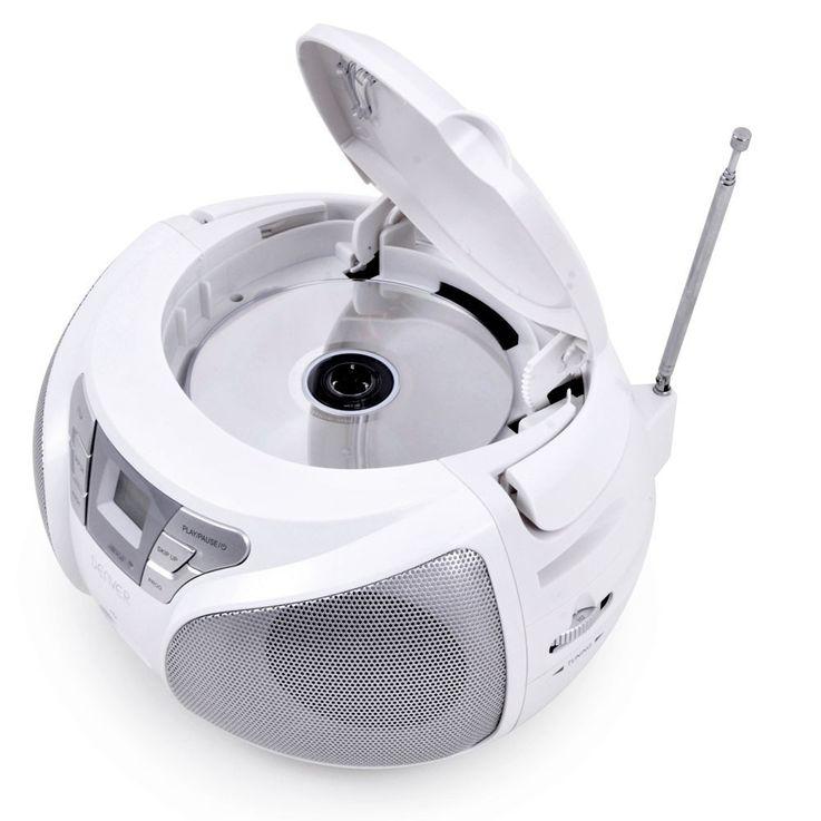Lecteur CD portable USB musique enfants boombox stéréo radio blanc autocollants  – Bild 4