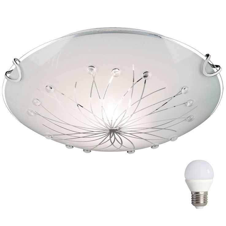 Ceiling lamp with frosted glass and sleek decorative lines – Bild 1