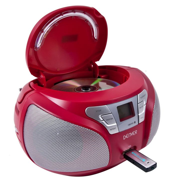 Stereo radio CD player USB port boom box music system MP3 Denver TCU 206 Red – Bild 1