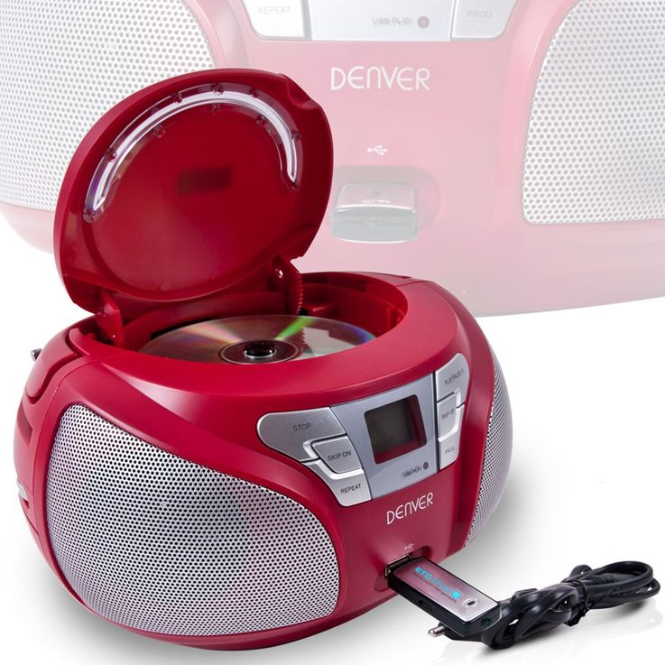 Stereo radio CD player USB port boom box music system MP3 Denver TCU 206 Red – Bild 2