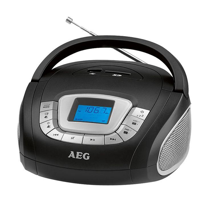 Stereo Lautsprecher Radio Boombox USB SD Musik Anlage AUX AEG SR 4373 SCHWARZ – Bild 1