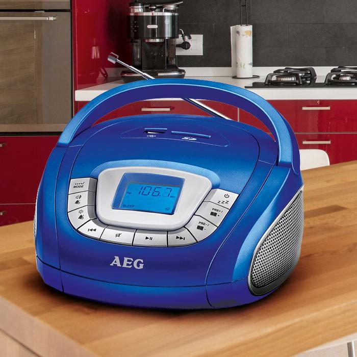 Radio stéréo haut-parleur USB SD musique chaîne hi-fi AUX AEG SR 4373 bleu – Bild 2