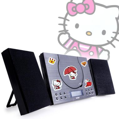 Musikanlage Radio Wecker Bluetooth UKW Toploader im Set inklusive Hello Kitty Stickerbuch – Bild 1