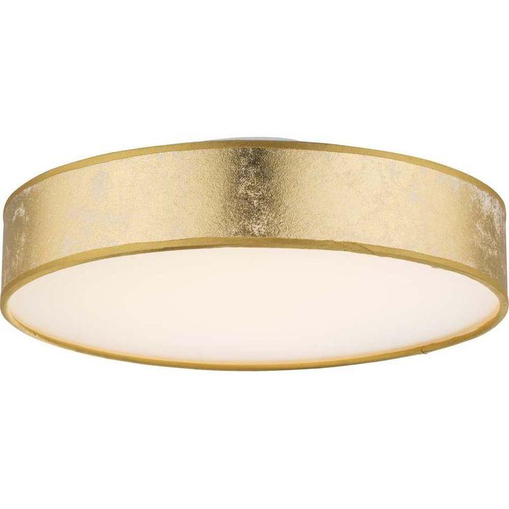 Led 24 Watt Deckenleuchte Mit Stoff Lampenschirm In Gold Ted Lampen