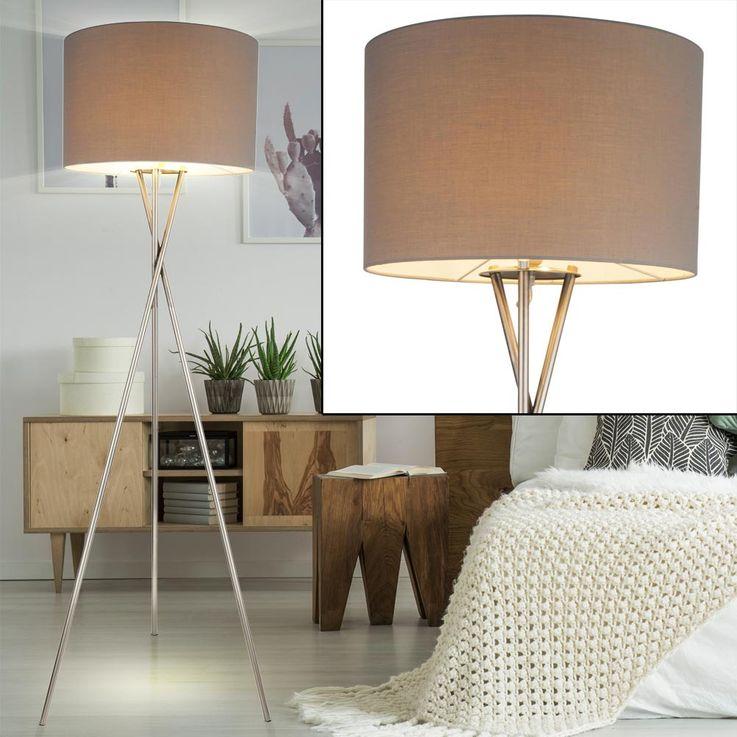 Steh Lampe Schlaf Gäste Zimmer Beistell Lese Stativ Strahler Lampe Textil Schirm grau Globo 24687N – Bild 2