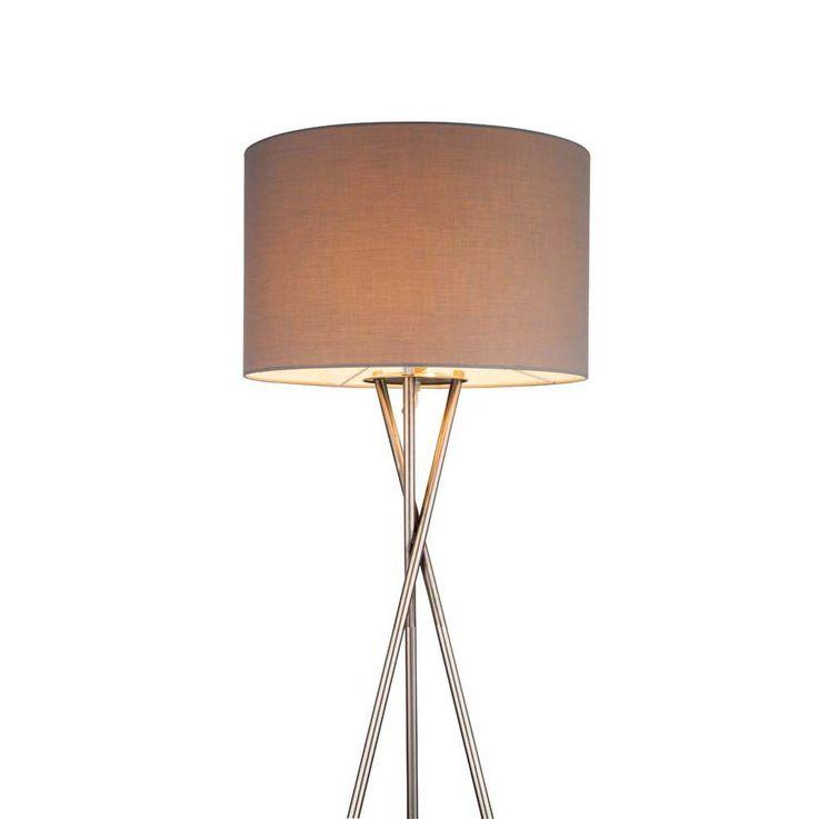 Steh Lampe Schlaf Gäste Zimmer Beistell Lese Stativ Strahler Lampe Textil Schirm grau Globo 24687N – Bild 5
