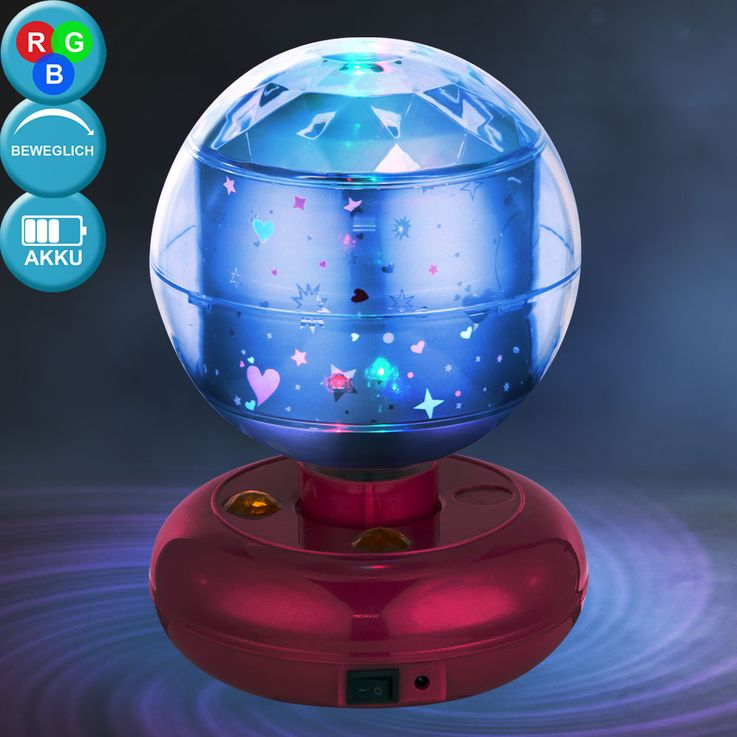 RGB LED Kinder Tisch Lampe Baby Deko Beleuchtung Spiel Zimmer Disco Kugel Leuchte pink Globo 28018 – Bild 2