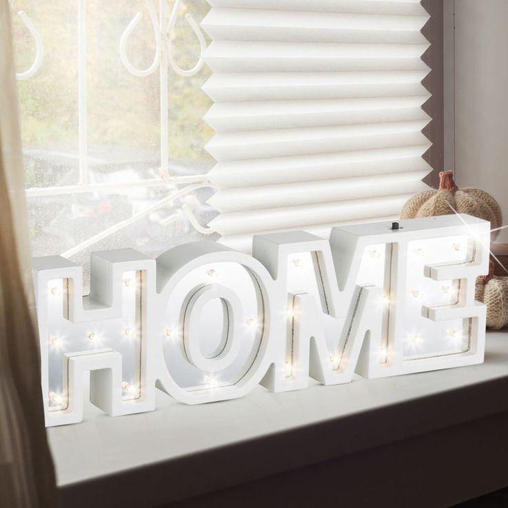 Design LED Deko-Tischleuchte mit Schriftzug HOME – Bild 2