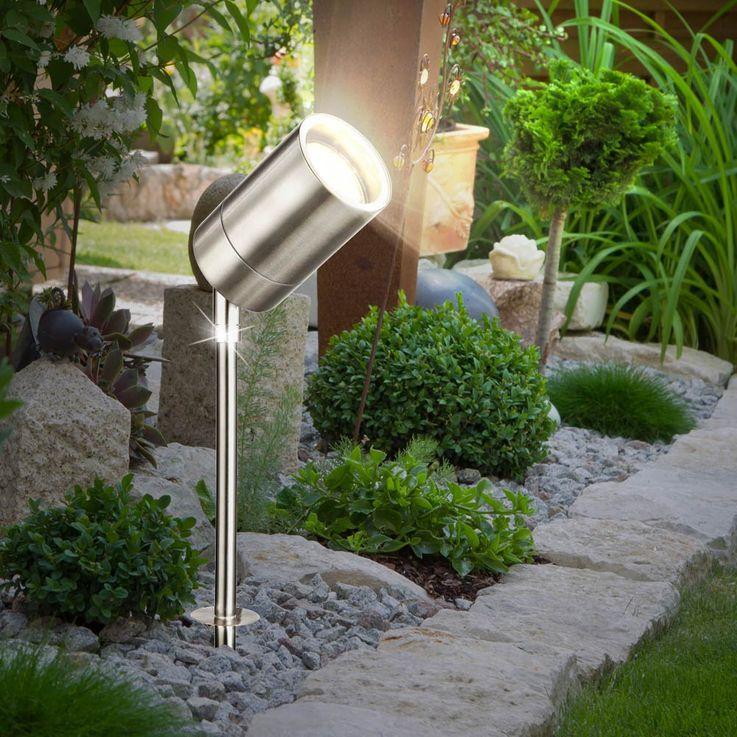 Außen Steck Leuchte Garten Terrassen Erdspieß Lampe Edelstahl Spot verstellbar Globo 32077 – Bild 2