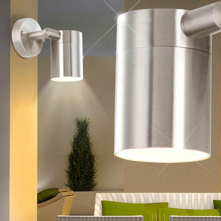 LED Außen Wand Lampe Edelstahl Veranda Glas Leuchte schwenkbar EEK A+ Globo 3207L – Bild 4