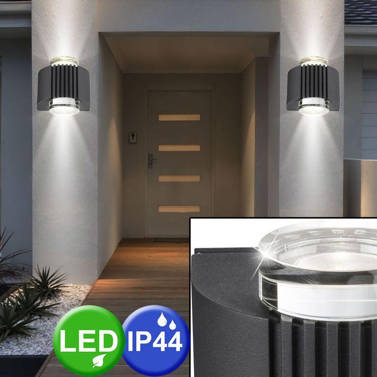 Design LED Außen Wand Lampe Terrasse Hof Beleuchtung Leuchte Alu Glas Kristall Strahler Globo 34194 – Bild 3