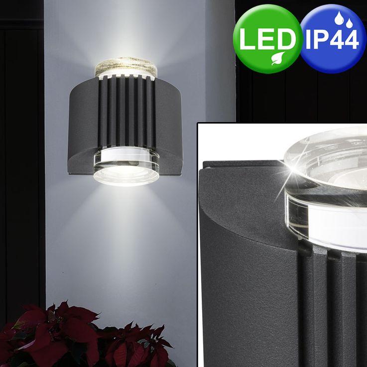 Design LED Außen Wand Lampe Terrasse Hof Beleuchtung Leuchte Alu Glas Kristall Strahler Globo 34194 – Bild 2