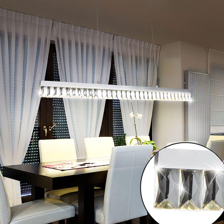 LED Kristall Pendel Leuchte Wohn Ess Zimmer Beleuchtung Chrom Decken Hänge Lampe Globo 49234-20H – Bild 3