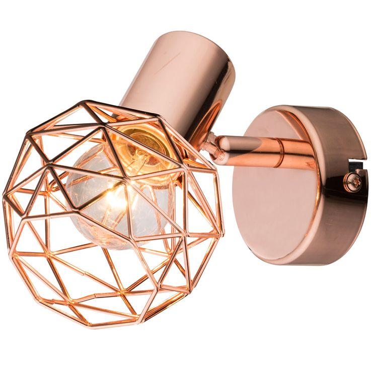 Luxus Wand Strahler Wohnraum Dielen Beleuchtung Kupfer Kugel Geflecht Lampe Globo 54805-1 – Bild 1