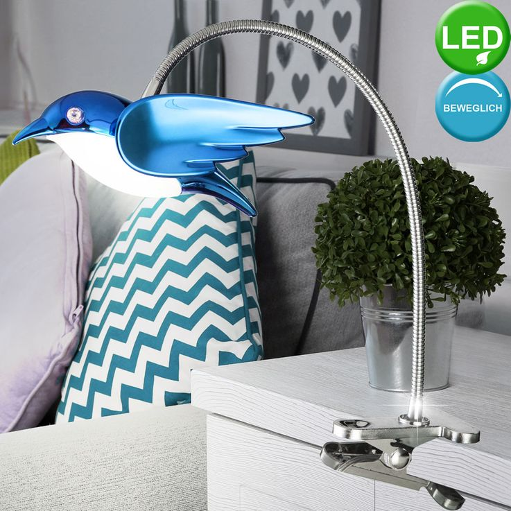 6W LED Klemm Spot Spotlight Lighting Lamp Switch Acrylic Blue EEk A  Globo BIRD 56671-1K – Bild 2