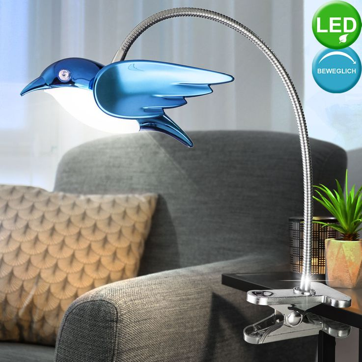 6W LED Klemm Spot Spotlight Lighting Lamp Switch Acrylic Blue EEk A  Globo BIRD 56671-1K – Bild 3