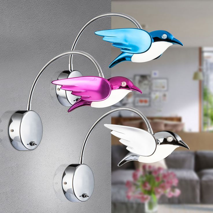 Applique LED Oiseau Salon Flexo Spot Reading Lamp Blue  Globo 56671-1W – Bild 3