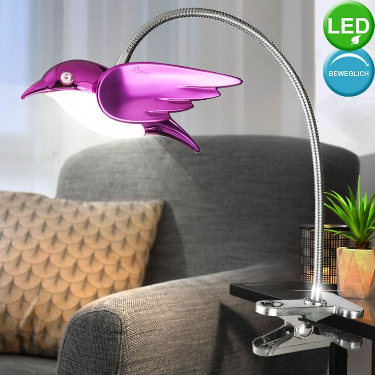 LED clamp spot table lamp bird design living room spotlight lamp pink  Globo 56672-1K – Bild 3