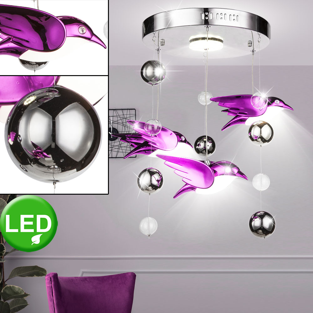 LED Decken Hänge Lampe Vogel Design Wohn Zimmer Beleuchtung Pendel Leuchte pink
